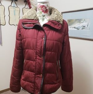 Old navy jacket with fur collar